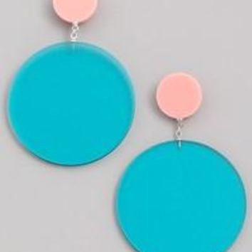 Turquoise and Pink Mod Earrings