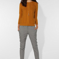CÖ Cable Knit Back-Zip Sweater