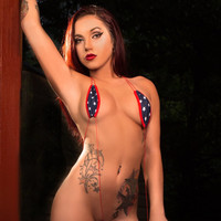 Mini Stars and Stripes Sexy Slingshot Teardrop Micro G-String Thong Bikini Minimal Coverage Swimwear Exotic Tan Barely There Mini w Red Cord