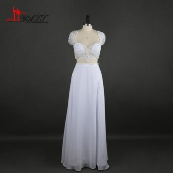 Two Pieces White Wedding Dresses 2017 Newest Cap Sleeves Crystal Beads Split Long Chiffon Bohemian Beach Wedding Bride Gowns