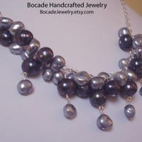 Fresh Water Pearls, Feminine Necklace, Sterling Silver Necklace, Womans Necklace, Wire Wrapped, Sky Blue, Silver, Purple