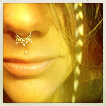 Anila. An Indian gold septum ring, elven body jewelry, gold body jewelry tribal septum ring tribal jewelry, burningman