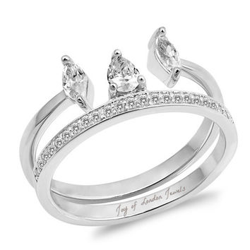 A Perfect 1CT Pear Cut Russian Lab Diamond Bridal Set Wedding Ba 6e5e94aedd