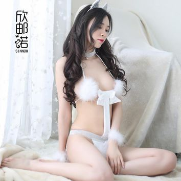 Cat Cosplay Suit Pajamas Three Point Women Underwears Lovely Bra Cute Tail Brief Set Sexy Lingeries for girl Role Play Hair hoop