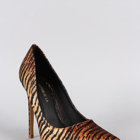 Shoe Republic Tiger Print Pointy Toe Pump Color: Tiger, Size: 6