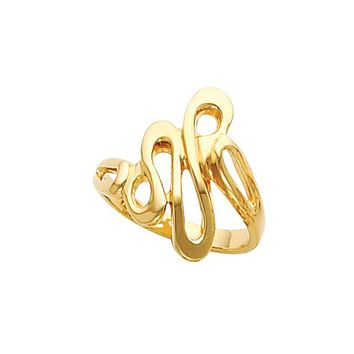 14k Yellow Gold Glossy Cursive Loop Ring: 14k Yellow Gold Polished Abstract Free Form Fashion Ring
