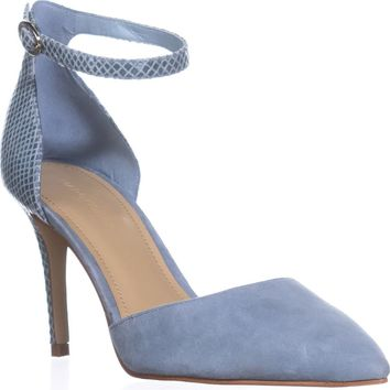 Marc Fisher Daiana Ankle Strap Pumps, Light Blue Suede, 6 US
