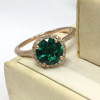 Emerald Engagement Ring 14K Rose Gold!Diamond Wedding Bridal Ring,7mm Round Cut Treated Green Emerald,Halo,Can make Matching Band,Fine Ring