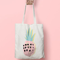 Pineapple Tote Bag Canvas - Tote Bag Pine Apple - Printed Tote Bag - Market Bag - Cotton Tote Bag - Large Canvas Tote - Funny Quote Bag