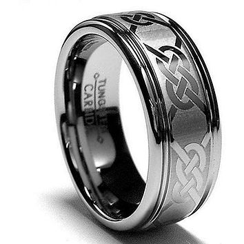 Celtic Knot Tungsten Wedding Band Ring