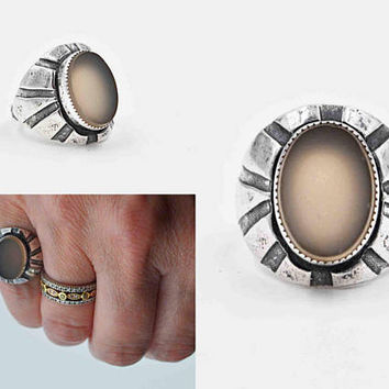 Vintage Art Deco Sterling Silver Gray Chalcedony Ring, Southwestern, Fan, Chased, Sawtooth, Flat Stone, Size 5 1/4, Amazing! #c223