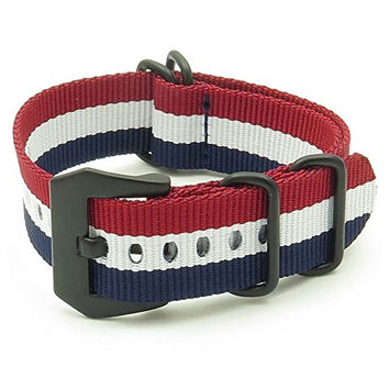 StrapsCo Navy Blue / White / Burgundy Ballistic Nylon Nato Zulu Watch Strap w/ Matte Black PRE-V Buckle size 26mm