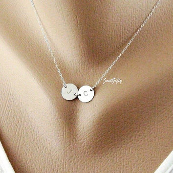 Two Monogram Necklace, Custom Two Initial Jewelry, STERLING SILVER, Simple daily Jewelry, Mother Necklace, Couple's necklace
