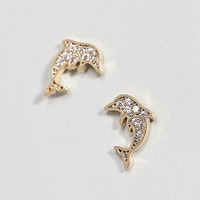 Orelia Gold Plated Crystal Dolphin Earrings at asos.com