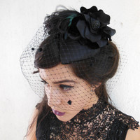 Black Feather Cocktail Hat. Fascinator, Black Birdcage Veil, Silk Flower, Teardrop Shape, Retro, Victorian, Goth