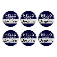 Jaydan Hello My Name Is Plastic Resin Button Set of 6