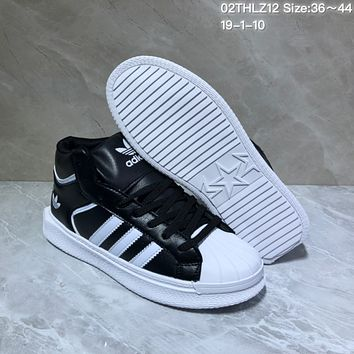 KUYOU A429 Adidas Hoops 2.0 Leather High Fashion Casual Skate Shoes Black White