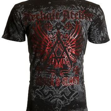 Licensed Official ARCHAIC by AFFLICTION Mens T-Shirt ACHILLES Cross Wings Tattoo Biker UFC $40