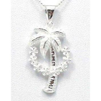 SILVER 925 HAWAIIAN PALM TREE PLUMERIA LEI PENDANT