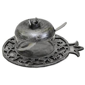 Honey Dish Pewter With Glass Insert, Spoon & Cover