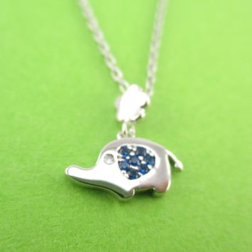 Dainty Little Elephant Shaped Charm Necklace in Silver with Blue Rhinestones