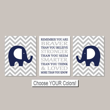Elephant Nursery Decor Elephant Prints Boy Nursery Decor Navy Gray Nursery Chevron Remember You Are Braver Set of 3 Prints Or Canvas