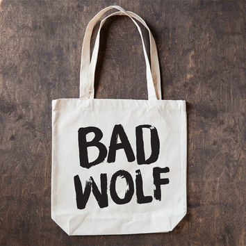 Bad Wolf, Cotton Canvas Tote Bag, Screen Printed