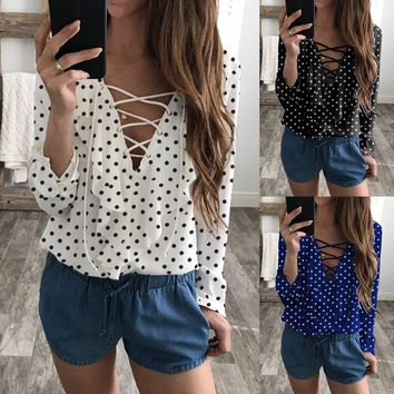 Celmia 2018 Summer Fashion Women Polka Dot Blouses Shirt Lace Up V-neck Long Sleeve Casual Feminino Tops Blusas Plus Size