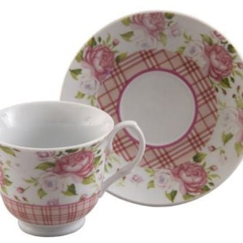 Gingham Rose Set of 6 Discount Porcelain Teacups & Saucers