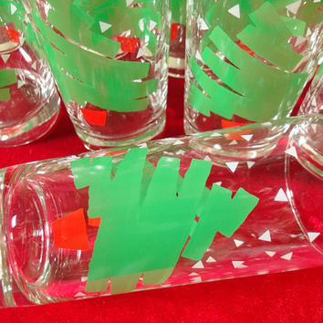 Dayton Hudson Christmas Tree Confetti glasses, set of 12, new in box, 1988 Highball Glasses