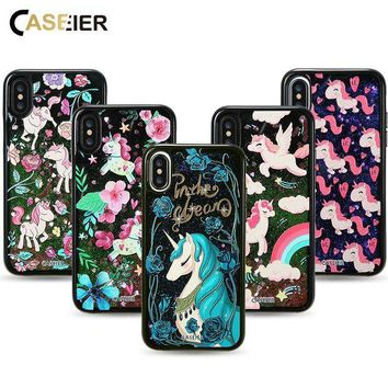 DCCKHY9 Bling Glitter Sand Cases For iPhone X 3D Painting Liquid Cat Case Accessories