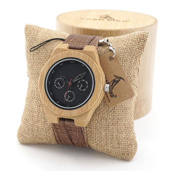 BOBO BIRD Time 24hours Bamboo Wooden watches Wood watches Round Multi-Eyed QUARTZ Wood Watch