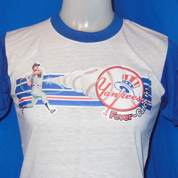 80s New York Yankees Fever Iron On Ringer t-shirt Youth Large