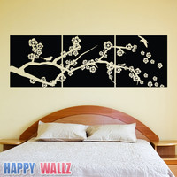 Cherry Blossom Branch Wall Decal 3 Panel Sticker Vinyl Living Room Bedroom Panels Boxes Vinyl Art Graphic BIG