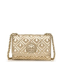 Tory Burch Marion Quilted Metallic Shrunken Shoulder Bag