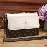 LV Louis Vuitton Women Leather Metal Chain Shoulder Bag