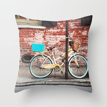 New Orleans Bicycle in French Quarter Throw Pillow Cover- 5 Sizes