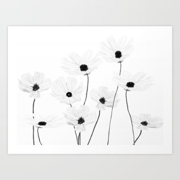 black and white cosmos  Art Print by Color and Color