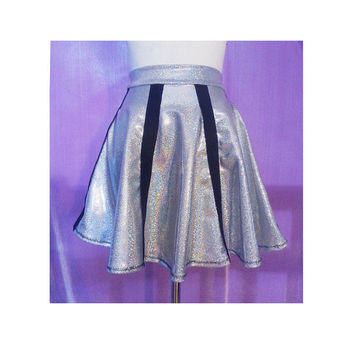 Holographic Cagey Space Skirt Silver