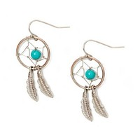 Silver and Turquoise Dream Catcher Drop Earrings | Claire's