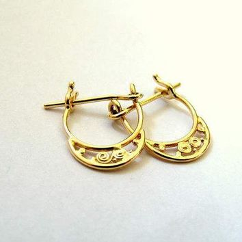 14K GOLD -  Indian Tribal Earrings