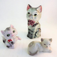 Vintage Glass Cat Figurine, Made in Japan Cat, Vintage Gray Cat Figurine, Set of 3 cats, Porcelain ceramic Cat with bow tie