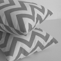 Gray Zig Zag Pillow Covers in 24 x 24 Set of 2 by skoopehome