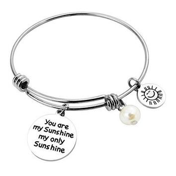 ALoveSoul Bracelet Gift  You Are My Sunshine My Only Sunshine Expandable Bangle Bracelets