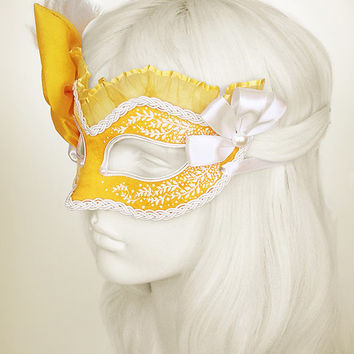 Bright Yellow And White Masquerade Mask  -  Venetian Style Mardi Gras Feather Mask With Faux Pearls - For Prom, Costume Party, Wedding