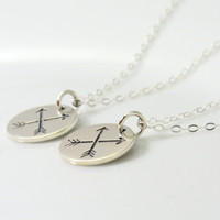 2 NECKLACES, Friendship Necklace Set, Sterling Silver arrow bff necklaces on thin silver chain, crossed arrows