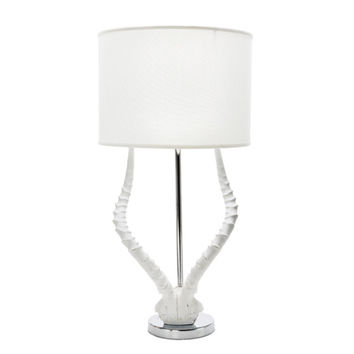 White Resin Horn Table Lamp