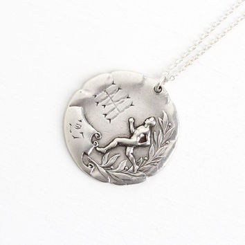 Vintage Sterling Silver Running Award Pendant - Art Deco Dated 1927 Athletic Track Cross Country Charm Fob Sports Necklace Initialed MH