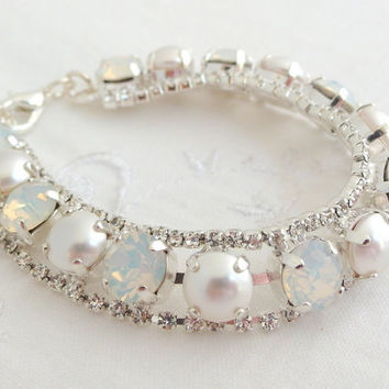 White opal and pearls bracelet, Swarovski rhinestones bracelet, Bridal bracelet, Tennis bracelet, Mother of bride gift, Mother of groom gift