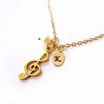 Treble Clef  Hand Stamped Initial Personalized Necklace